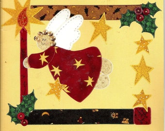 Vintage 1996 Holiday Country Borders Iron-On Fabric Applique Kit 73109, Angel Light. Angel, Stars, Holly, Country Border.