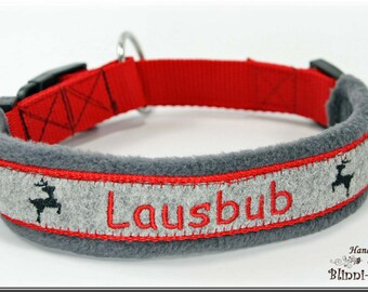 "Dog collar in bavarian style, gray-red, embroidered with ""LAUSBUB""."