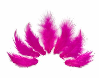 Fluffy small feathers, 1 Dozen - Solid Hot Pink Rooster Fluff Chickabou Feathers : 850