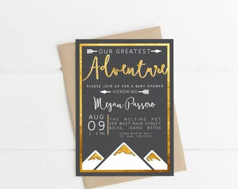 OUR GREATEST ADVENTURE -   Printable Party Invitations - I design - You print - matching favor bags available