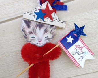 Fourth of July Decoration Independence Day Ornament Chenille Kitten Cat July 4 Patriotic