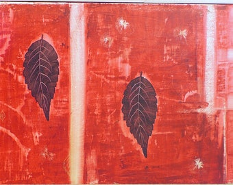 "Red Leaves 12""x24"" acrylic on board w/ varnish, wood backing, ready to hang"