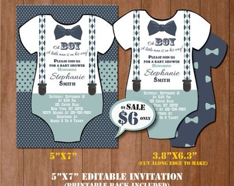 Little Man Baby Shower Invitation-Self-Editing Mustache Baby Shower Invite-Printable Onesie Invitation-Little Gentleman-Little Man-B409-ON