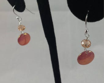 Rose Gold Coated Glass Discs on Sterling Silver Hooks