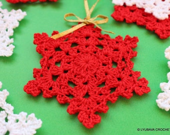 Christmas Crochet Pattern, Crochet Snowflake PATTERN, Christmas Tree Ornaments, Winter Crochet DIY Gifts, Instant Download, PDF Pattern #8