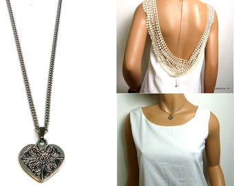 Back metal N3366 hearts necklace