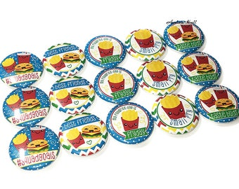 """Fast Food, French Fry, Burger, 1"""", Button, Fast Food Party Favor, Fast Food Theme, Fast Food Pin, Fast Food Pinback, French Fry Pin, Fries"""