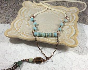Long amazonite bead necklace/long Goddess necklace