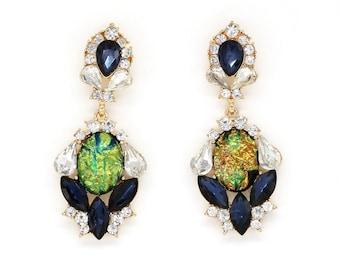 Vintage inspired Elegant pearlescent blue crystal earrings