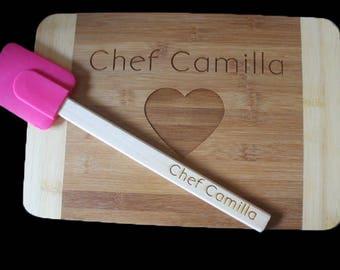 Cutting board and spatula set, personalized engraved cutting board & spatula, baking set, cooking gift set, personalized baking gift