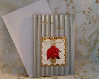 Dual silver corrugated cardboard and handmade sheet and envelope