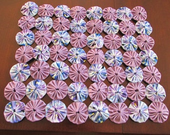 New Mini yo yo quilt or table topper in Spring Pansy Print and Lovely lavendar