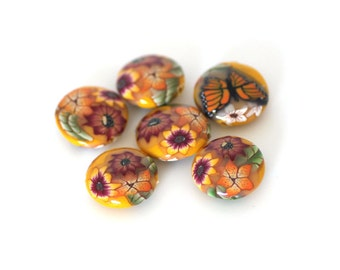 Sunshine Yellow Beads, Polymer Clay Lentil Beads, Monarch Bead Set