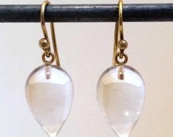 Acorn-Shaped Rock Crystal Earrings - 18k ear wires