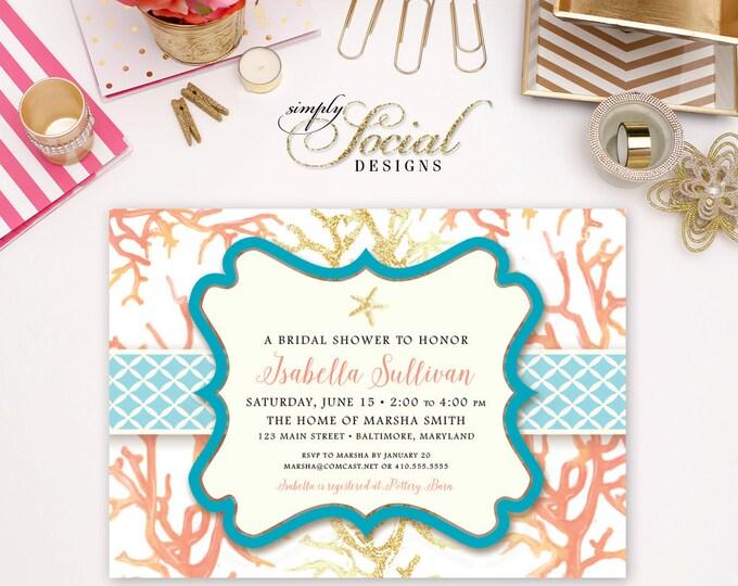 Under the Sea Shower Invitation - Coral Starfish Printable Bridal Shower Baby Shower Invitation Nautical