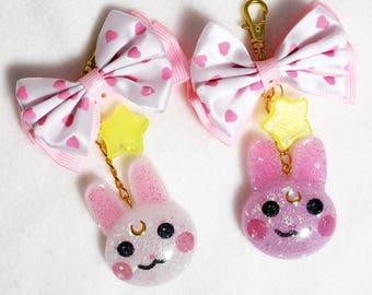 Usagi Sailor Moon Insipred Keychain or Charm - Handmade Resin Bunny Charm with Fabric Bow