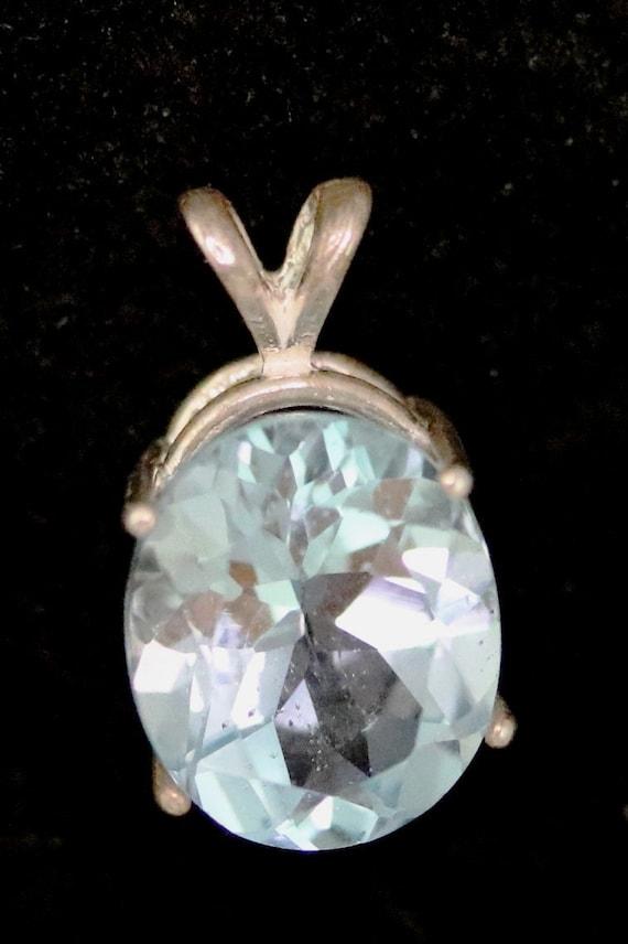 Topaz December Birthstone pendant, ice blue, silver bezel 10.5ct