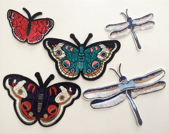 Butterfly Patch dragonfly Embroidered Decal  Bright Orange Monarch Butterfly Patch for Jackets.