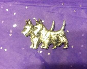 Vintage twin Beau sterling Scottie Dog Pin