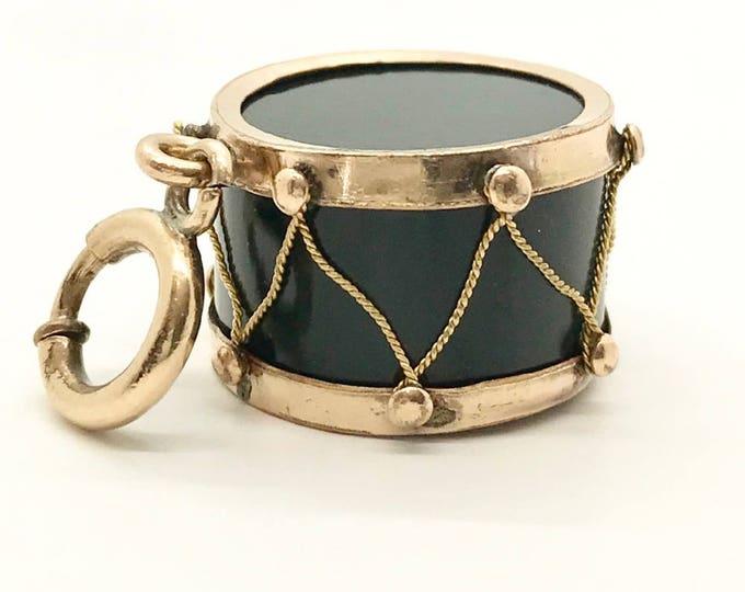 Vintage Gold Filled Drum Charm, Drum Pendant, Moss Agate, Gold Filled Drum, Drum, Moss Agate Drum, Vintage Pendant, Vintage Charm