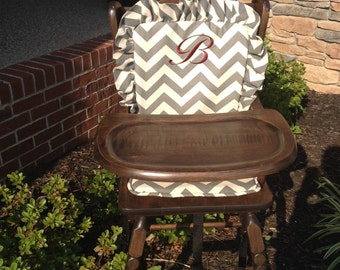 High chair cove: grayr / highchair cover/ high chair cushion / wooden high chair pad / highchair cushion / highchair pad / vintage /monogram