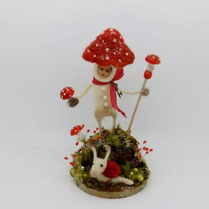 Secret Garden Toadstool Mushroom Boy and Snail Vintage Mercury Glass wool needle felted 7-1/4 tall German inspired #1