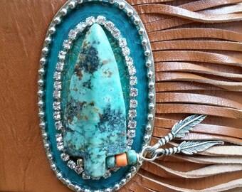 Leather Fringe Bracelet, Turquoise Bracelet, Arrowhead Bracelet, Cuff Bracelet, Leather Bracelet, Southwest Bracelet, Bohemian Jewelry