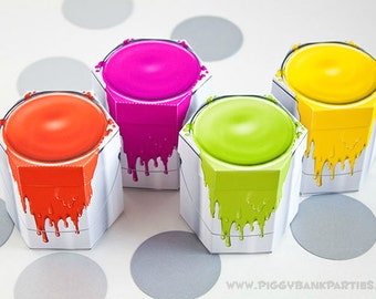 Paint Can Favor Box Set - NEON : DIY Printable Painting Party Gift Box | Art Party | New Home | Construction - Instant Download