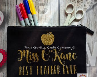 Teachers Personalised Pencil Case / End of term teacher gift / Teaching assistant gift / Best Teacher Ever