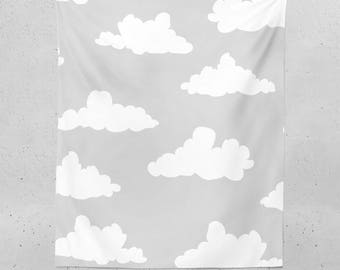 Clouds Tapestry - Grey Tapestry, Wall Tapestry, Kids Tapestry, Wall Tapestries, Dorm Room Tapestries, Nature Wall Tapestry, Cool Tapestry