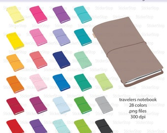 Travelers Notebook or Journal Icon Digital Clipart in Rainbow Colors - Instant download PNG files