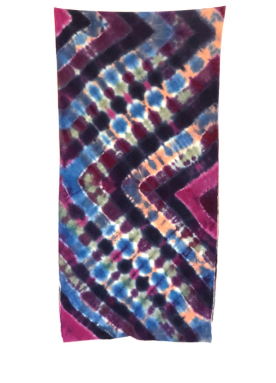Hand Dyed Tie Dye Scarf in Periwinkle, Raspberry, Grey & Deep Purple/Womens Tie Dye/Eco-Friendly Dying