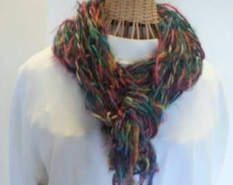 Colorful arm-knitted scarf