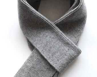 Men's knitted lambswool long scarf/winter scarf/wool scarf/classic knit/gray/men/dark gray/black