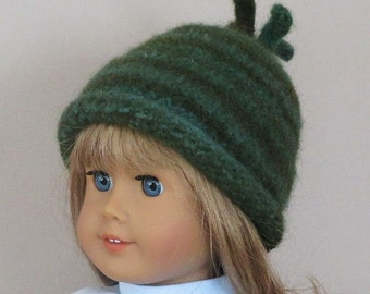 American Girl felted wool hat with rolled brim: 18 inch doll, green and aqua variegated yarn.