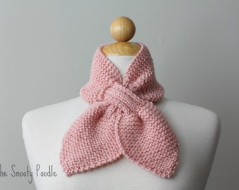 Knitted Scarflette Bow Neck Warmer Bow Pink