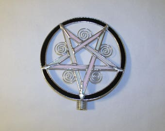 Yule Tree Topper, Stained Glass Pentagram Star, Wicca Decor