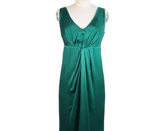 Ferretti Alberta silk emerald evening dress size 40 it made italy 2000s