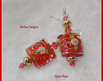 Red Earrings,Floral Earrings,Rose Earrings,Dangle Earrings,Colorful Earrings - GYPSY ROSE