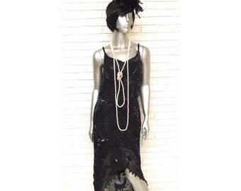 Vintage Black Silk Beaded Sequins Dress Size M Asymmetric Roaring 20's Flapper Gown