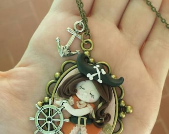 Pirate necklace in polymer clay gift idea