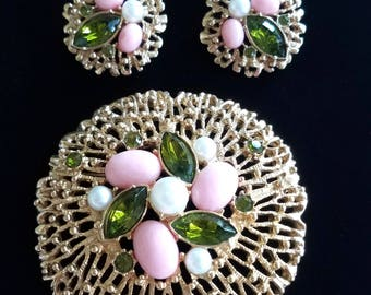Sarah Coventry Fashion Splendor Brooch and Earring Set, Green, Pink & White Vintage Jewelry Set