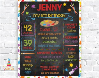 Art Party Printable Chalkboard Sign, Paint Party, Milestone Poster - Instantly Download and Edit at Home with Adobe Reader