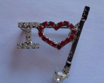 Vintage Signed Beaur Multi Rhinestone I Love Golf Brooch/Pin