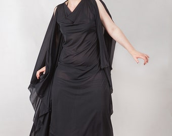 Witching Hour Drape Dress, Gothic, Nugoth, Ritual, Strega Dress, custom size, genderfree.