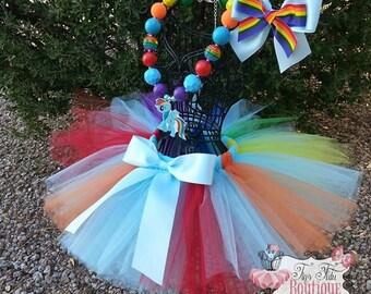 RAINBOW DASH- My Little Pony inspired- Blue and Rainbow tutu with hairbow:  Newborn-5T
