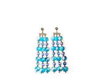 Beautiful Bright Blue Rosarybead Earrings