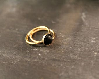 Onyx Thick Stacking Set - TWO RINGS (Gold Silver Rose Gold Black Wedding Bridesmaid Stacking Ring Gifts Under 60)