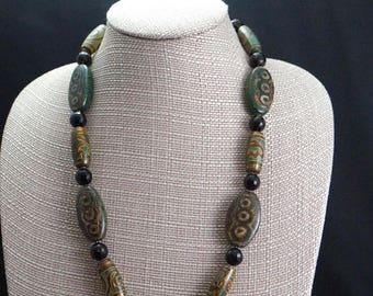 Agate Beads with Smoky Quartz and Sterling Silver