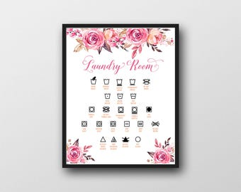 Printable Laundry Room Wall Art, Floral, Laundry Icons, Laundry Symbols, Care Symbols, Drying Symbols, Washing Symbols, Watercolor, MB264